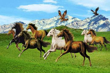 Ngựa xuất hiện trong tranh như là biểu tượng của sự mau chóng và thành đạt.
