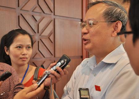 Ông Đinh Xuân Thảo trả lời báo chí bên hành lang Quốc hội sáng nay 28/5.