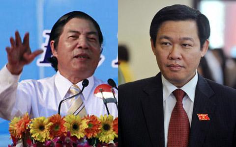 Ông Nguyễn Bá Thanh (trái) và ông Vương Đình Huệ. Ảnh: Nguyễn Đông - Hoàng Hà.