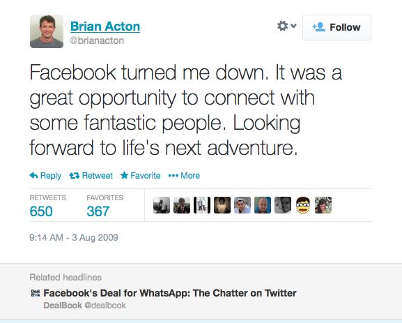 Đồng sáng lập WhatsApp từng bị Facebook đánh trượt khi xin việc
