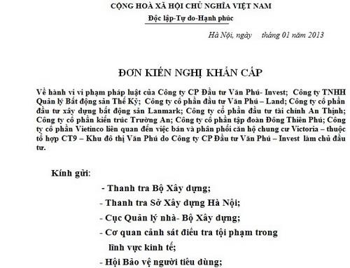 Khách hàng mua căn hộ Victoria Văn Phú có nguy cơ mất trắng? (1)