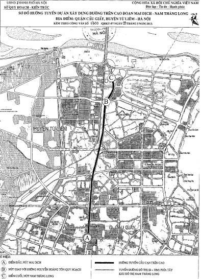 Phương án hướng tuyến đường trên cao Mai Dịch – Nam Thăng Long (1)