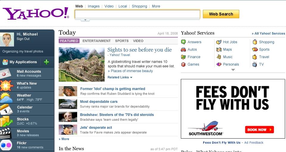 Các công thông tin như Yahoo không quan tâm nhiều đến công cụ tìm kiếm mà chỉ phát triển nội dung trang chủ, rồi kiếm tiền nhờ banner quảng cáo
