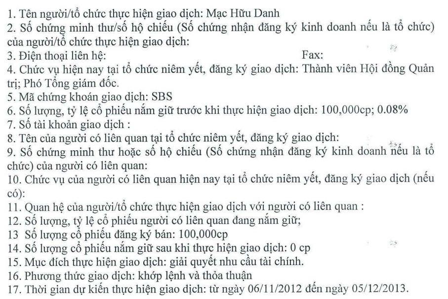 SBS: Phó TGĐ Mạc Hữu Danh đăng ký bán toàn bộ 100.000 cổ phiếu