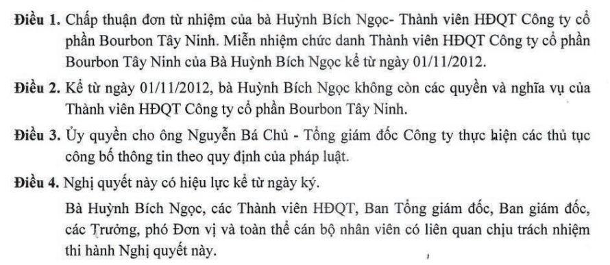 SBT: Nữ hoàng mía đường Huỳnh Bích Ngọc từ nhiệm TV. HĐQT