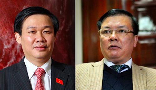 Bộ trưởng Tài chính Vương Đình Huệ (trái) và Tổng Kiểm toán Nhà nước Đinh Tiến Dũng (phải)