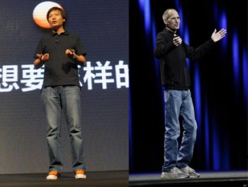 Lei Jun (trái) thường được cho là nhái lại Steve Jobs