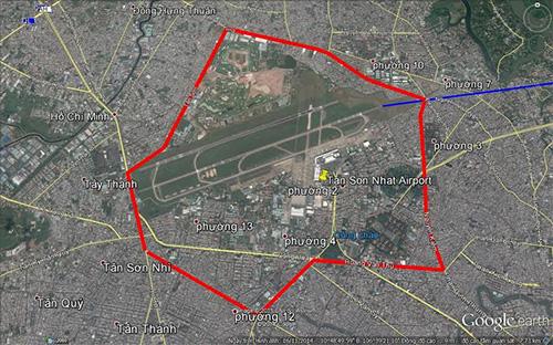 Hình 1: Vị trí hàng rào sân bay Tân Sơn Nhất trước năm 1975