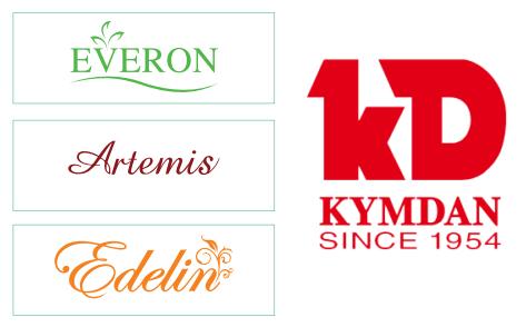 Everpia dùng khá nhiều thương hiệu cho các sản phẩm và phân khúc khác nhau trong khi Kymdan dùng chung thương hiệu Kymdan