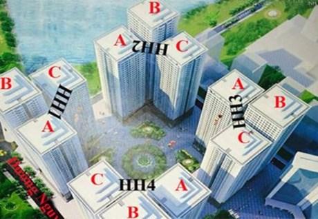Phối cảnh khu chung cư HH Linh Đàm với mật độ xây dựng dày đặc