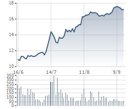Biến động giá cổ phiếu TTF 3 tháng gần nhất.
