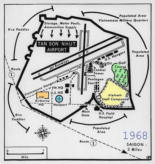 Hình 2: Sơ đồ sân bay Tân Sơn Nhất năm 1968 với sân golf Gia Định.