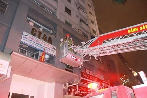 Các lực lượng chức năng đã huy động 21 xe cứu hoả các loại