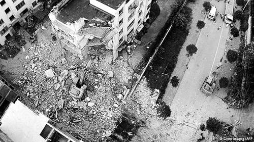 Hiện trường một vụ nổ bom được cho là do Vi Ngân Dũng thực hiện