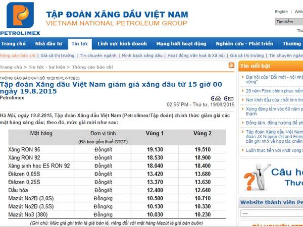 Bảng giá xăng dầu của Petrolimex từ 15 giờ ngày 19/8 (Nguồn: Petrolimex.com.vn)