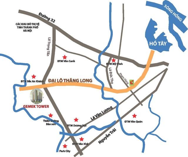 Dự án tọa lạc tại khu đô thị mới Lê Trọng Tấn, ngay đầu đường Lê Trọng Tấn giao cắt đại lộ Thăng Long.