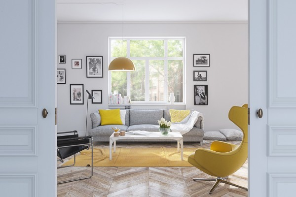 The second apartment uses much paler shades to a very soothing and almost retro effect. The buttercup yellow area rug in the living room plays with the yellow patterned throw pillow, but they dont actually match. The result is a warm and cozy feeling thats just mismatched enough.