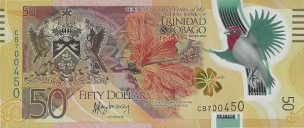 Tờ 50 đô la của Trinidad và Tobago (Mặt trước)