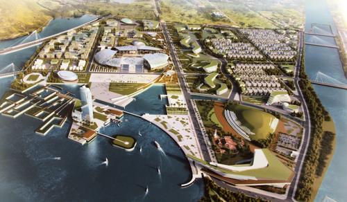 Mô hình khu trung tâm đô thị hành chính mới của tỉnh Khánh Hòa.