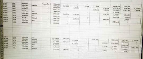 Báo cáo doanh thu tháng tại các đại lý của một công ty kinh doanh thực phẩm  chức năng ở TP HCM Ảnh: Ngọc Ánh - Lê Vân