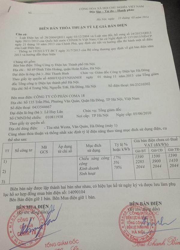 Biên bản thỏa thuận tỷ lệ giá điện do Westa cung cấp