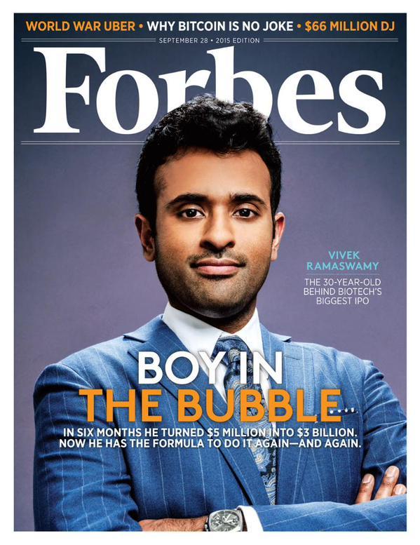 Vivek Ramaswamy trên trang bìa tạp chí Forbes