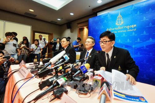 Đại diện văn phòng Tổng công tố Thái Lan tại cuộc họp báo công bố quyết định chấp thuận vụ kiện cựu Thủ tướng Yingluck ngày 19/3.
