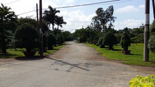 Con đường chính duy nhất dẫn vào khu công viên đang bắt đầu xuống cấp.