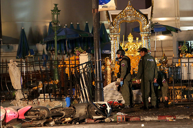 Hiện trường vụ đánh bom - Ảnh: Bangkok Post