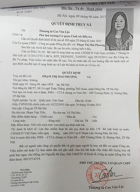 Quyết định truy nã Phạm Thị Mai Phương.