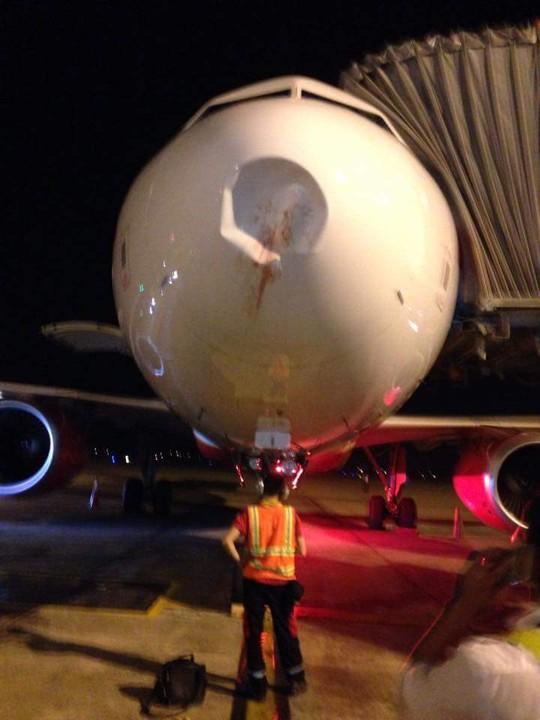Ảnh chụp tại sân bay Nội Bài lúc 19 giờ ngày 30-9 - Ảnh: Facebook Bùi Chí Công