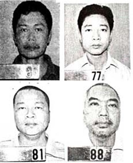 Các bị cáo Bằng, Duy, Thái, Lục (theo thứ tự từ trái qua phải, trên xuống dưới)