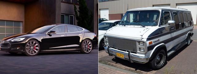Cặp đôi siêu xe của Luckey - Chiếc Model S sang chảnh bên cạnh chiếc xe van GMC cổ lỗ sĩ.