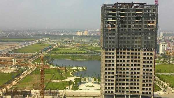 Dự án chung cư cao tầng đang mọc lên rầm rộ ở xung quanh hồ điều hòa Ngoại Giao Đoàn