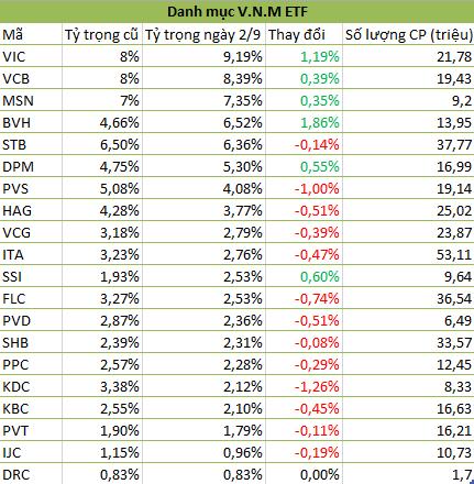 Danh mục cổ phiếu của V.N.M ETF