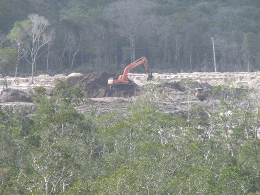 Trong lòng những khu rừng dương dọc Bãi Dài, hoạt động xây dựng dự án diễn ra khá rầm rộ.