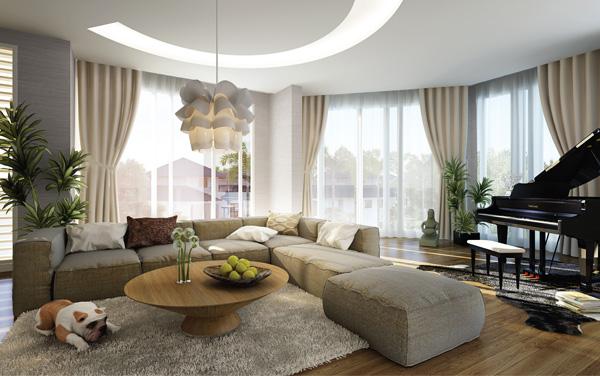 bộ ghế sofa màu xám nhẹ nhàng kết hợp cùng với những chiếc gối ôm đủ màu sắc mang lại sự tiện lợi và ấm cúng cho căn phòng.