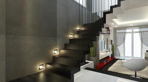 Ánh sáng cũng là cách trang trí cầu thang tuyệt vời, làm nổi bật những họa tiết trên vật dụng nội thất một cách có chủ ý, tạo hiệu ứng độc đáo, lãng mạn cho ngôi nhà bạn.