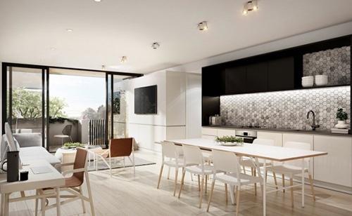Với cách bố trí liên thông, phòng khách và bàn ăn nên các khu vực đều có thể nhận được ánh sáng tự nhiên.