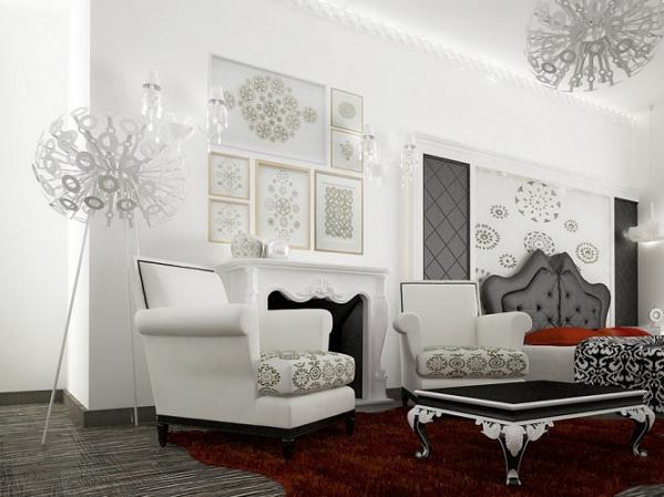 Thay vì sử dụng tấm thảm với kiểu dáng hình chữ nhật thông thường, chủ nhân của căn phòng này sử dụng thảm lông đỏ với hình dạng lượn sóng mang đến sự mới mẻ cho toàn bộ không gian phòng khách.