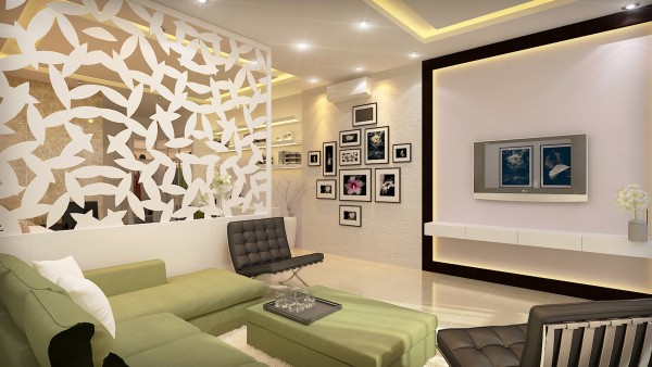 Vách ngăn gỗ hình chiếc lá tạo cảm giác mềm mại, nó ngăn cách phòng khách và phòng ngủ gia chủ.