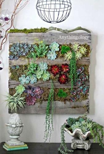 Với một tấm gỗ gắn hoa cỏ và dây leo giả, bạn đã biến bức tường đơn điệu trở nên sinh động và bắt mắt.