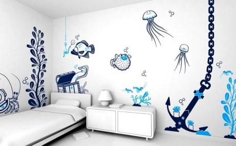 Vẽ tranh tường cũng là 1 xu hướng mới được nhiều người ưa chuộng. Ở mỗi 1 gian phòng với mục đích sử dụng khác nhau, bạn có thể lựa chọn các chủ đề, tông màu khác nhau để vẽ trên tường sao cho hợp với không gian và khung cảnh căn phòng.