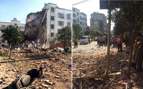 Một phần của ngôi nhà đã đổ sập sau vụ nổ (Ảnh: Weibo)