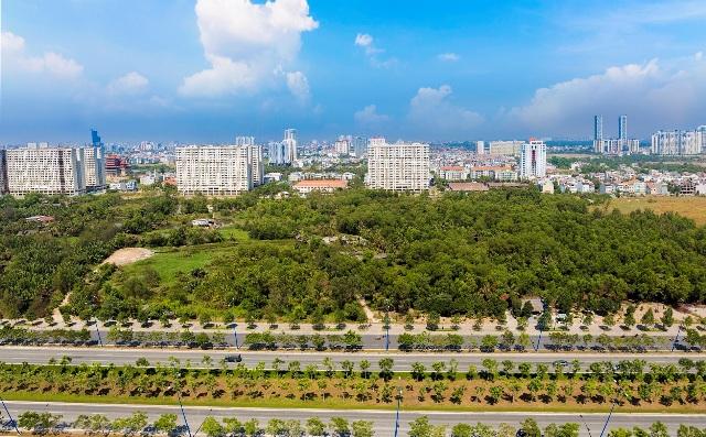 Một góc của khu đô thị mới Thủ Thiêm nhìn từ trên cao. Trong tương lai không xa, vị trí này sẽ là khu công viên xanh lớn nhất Tp.HCM.