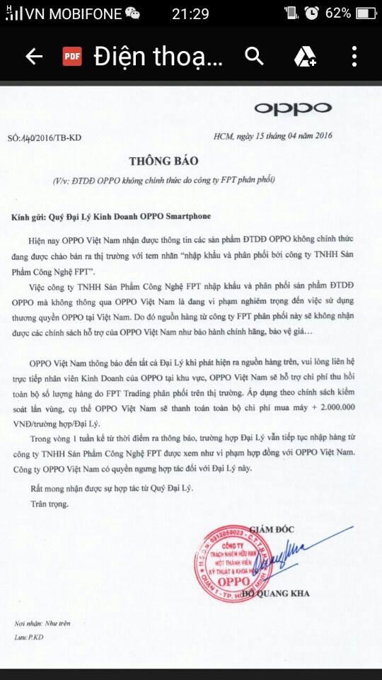 Thông báo của Oppo Việt Nam gửi đại lý hôm 15/4 - Ảnh chụp màn hình điện thoại