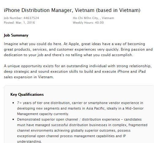 Thông tin tuyển dụng của Apple