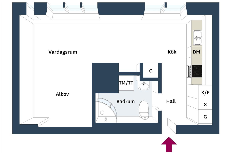 Sơ đồ thiết kế của căn hộ 38m² dành cho cô nàng độc thân.