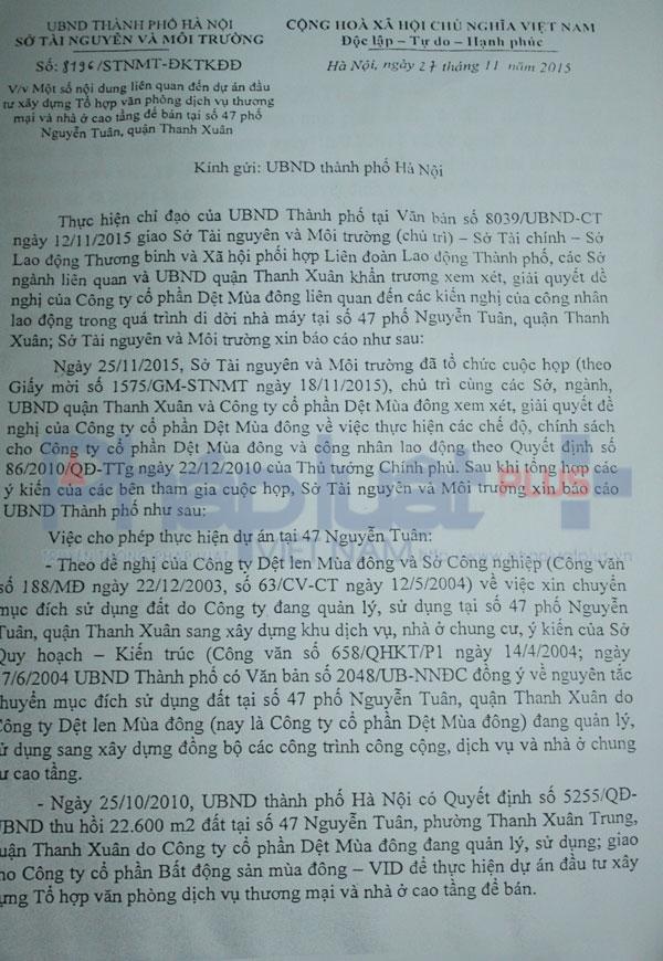 Văn bản 8196 các Sở ban ngành họp và thông báo lên UBND Thành phố Hà Nội xem xét, giải quyết đề nghị của Cty Dệt.