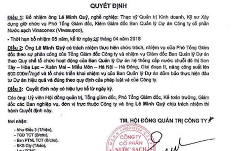 Quyết định bổ nhiệm  Phó tổng giám đốc kiêm Giám đốc Ban quản lý dự án đối với ông Lê Minh Quý.